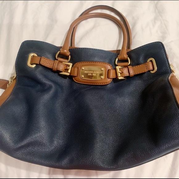 Michael Kors Handbags - Michael Kors Satchel Purse Navy Blue Saddle Brown